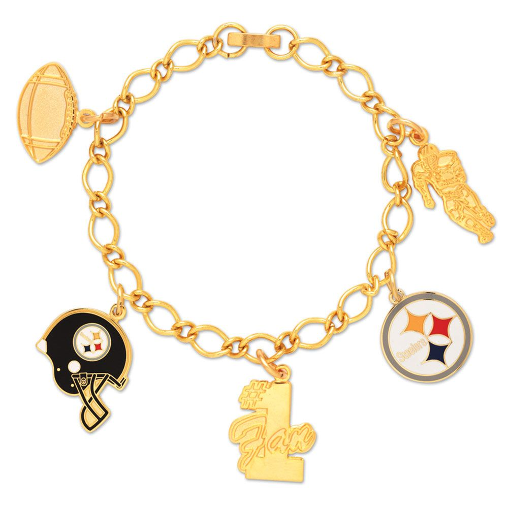 amfoo - Wincraft Damen Charms Armband - NFL Pittsburgh Steelers