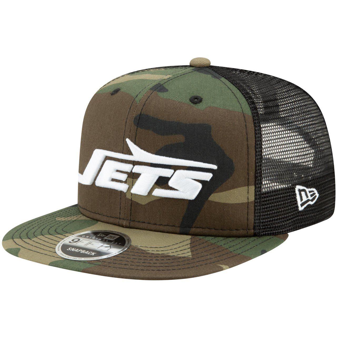 amfoo - Throwback New York Jets Mesh 9Fifty Snapback Cap wood camo
