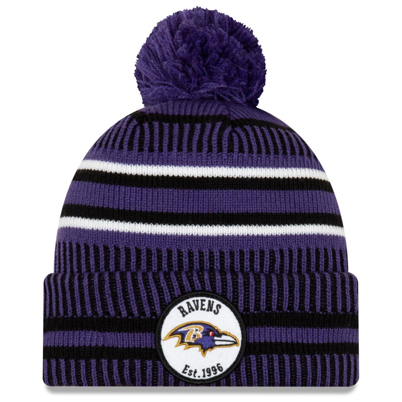 amfoo - New Era Sideline Home 2019 Bommel Mütze Baltimore Ravens