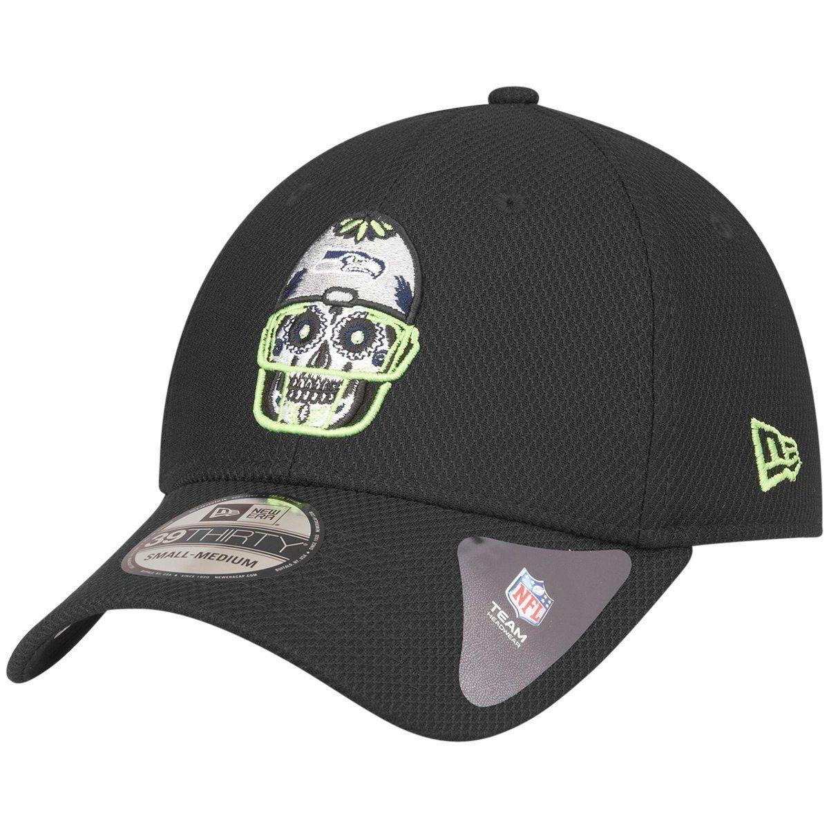 amfoo - New Era 39Thirty Diamond Cap - SUGAR SKULL Seattle Seahawks