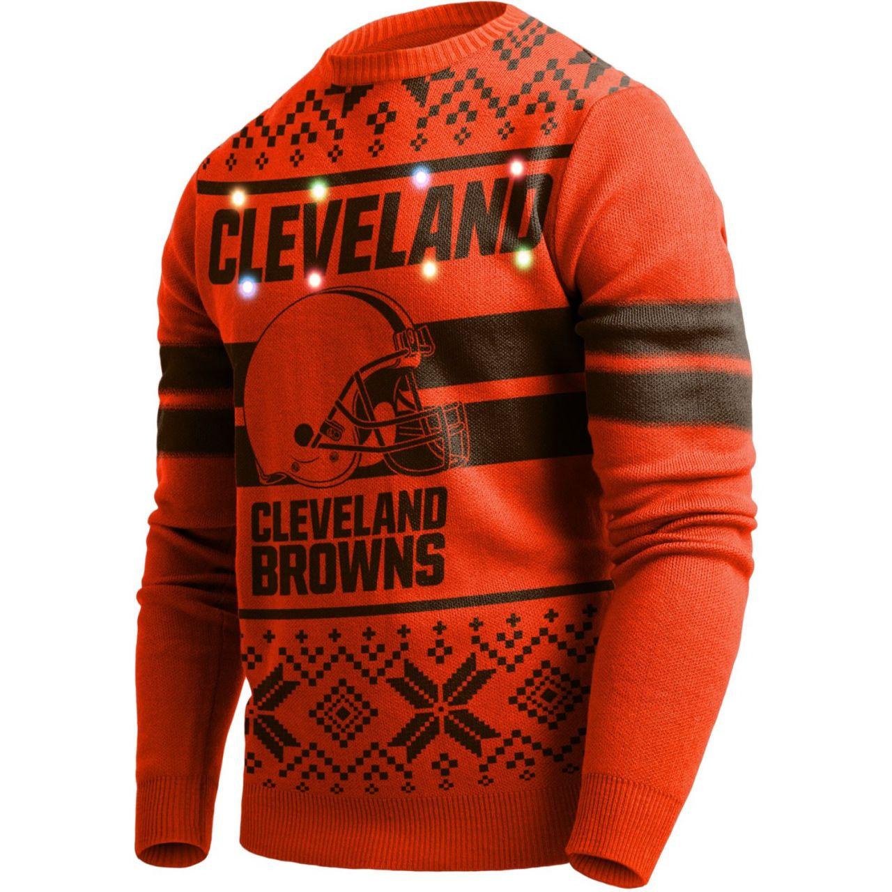 amfoo - LED Light Up XMAS Strick Pullover - NFL Cleveland Browns