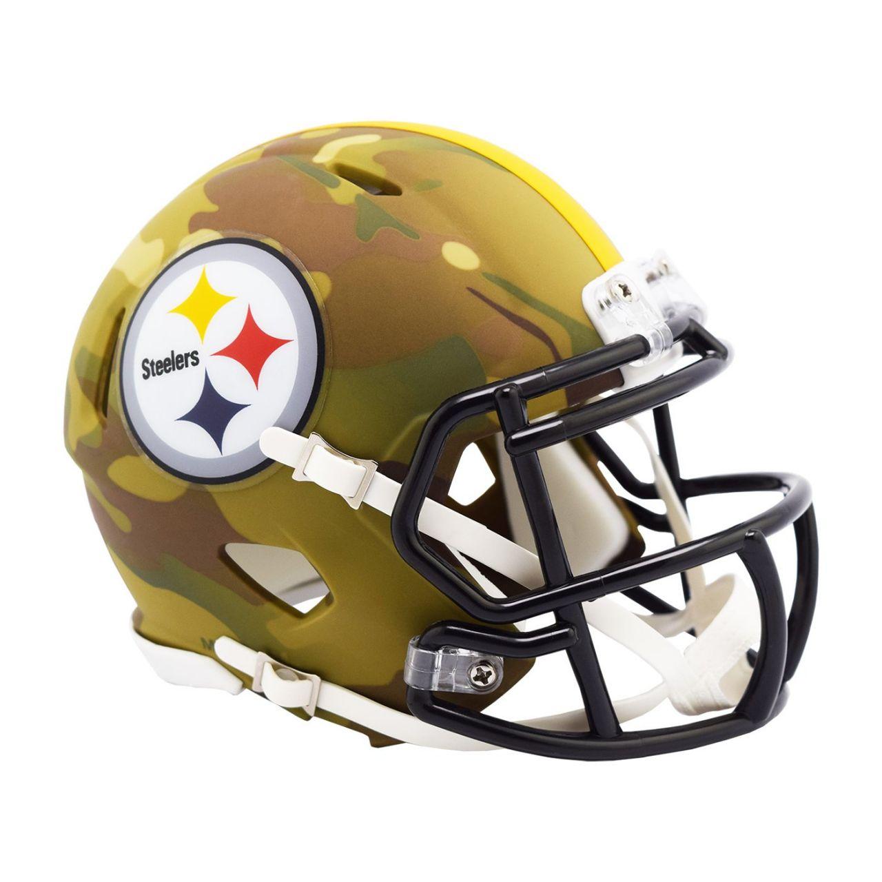 amfoo - Riddell Mini Football NFL Helm MULTICAM Pittsburgh Steelers