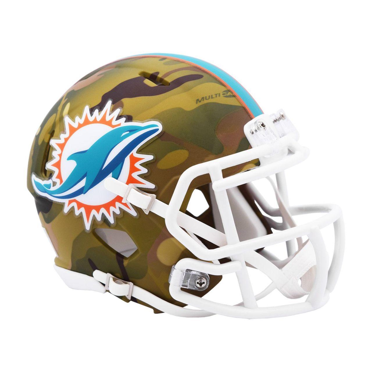 amfoo - Riddell Mini Football NFL Helm MULTICAM Miami Dolphins