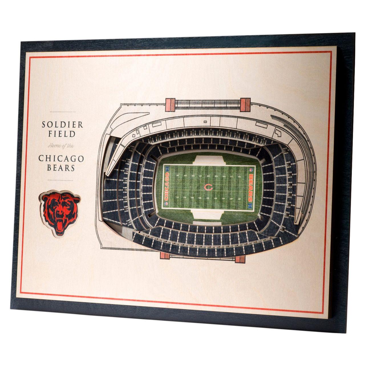 amfoo - YouTheFan Holz Wanddeko Stadion Chicago Bears 43x33cm