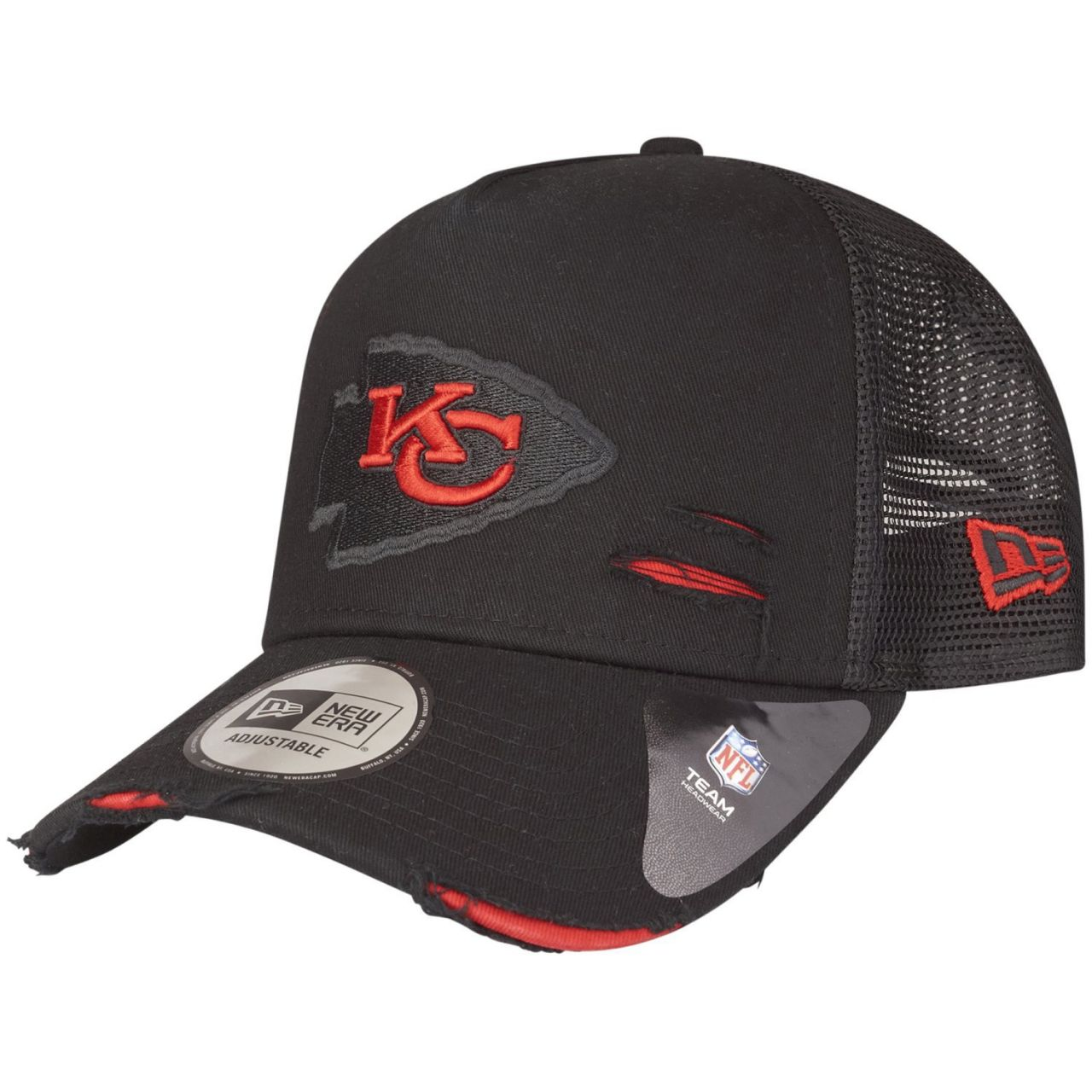 amfoo - New Era Adjustable Trucker Cap DISTRESSED Kansas City Chiefs