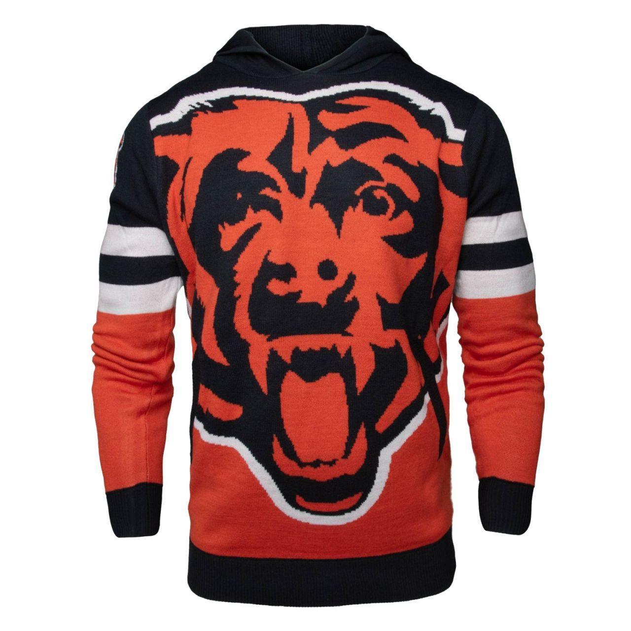 amfoo - NFL Ugly Sweater Big Logo Strick Hoody - Chicago Bears