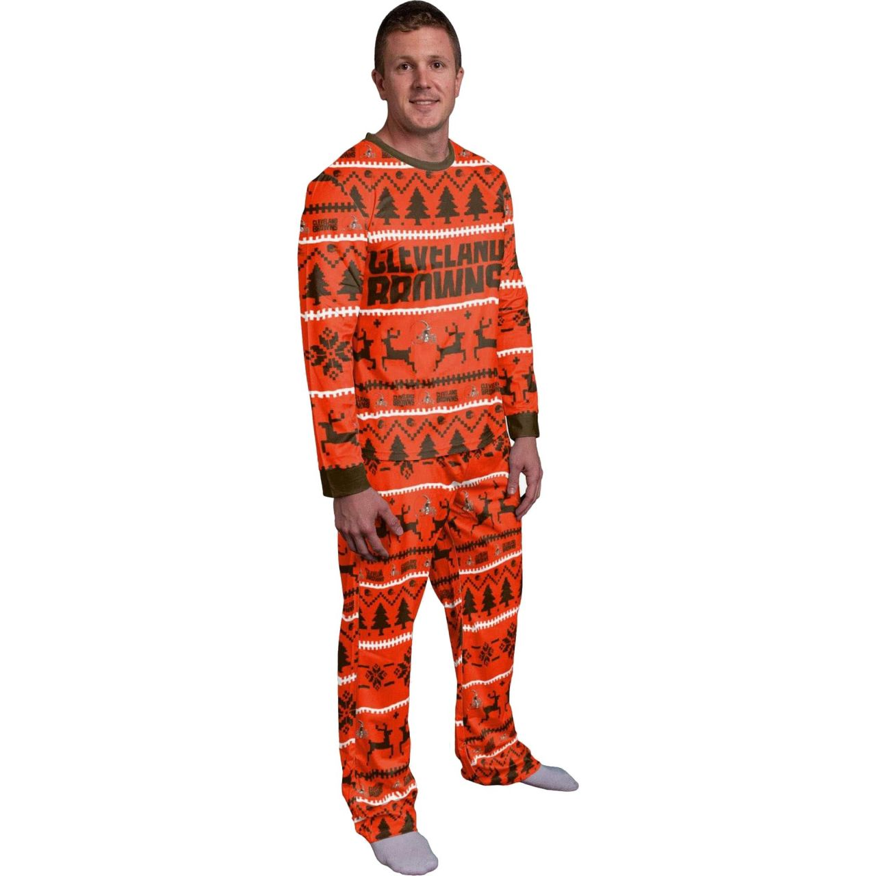 amfoo - NFL Winter XMAS Pyjama Schlafanzug - Cleveland Browns