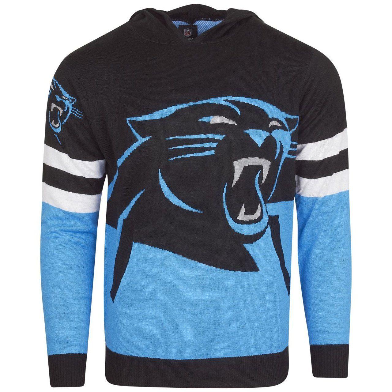amfoo - NFL Ugly Sweater Big Logo Strick Hoody - Carolina Panthers