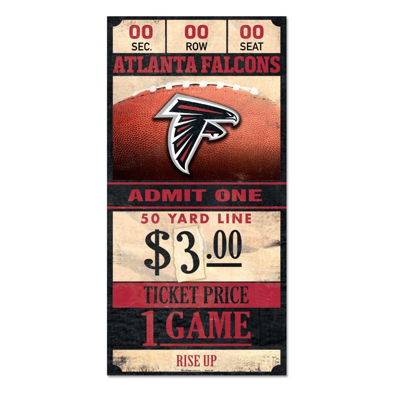 amfoo - Wincraft NFL Holzschild TICKET Atlanta Falcons 30x15cm