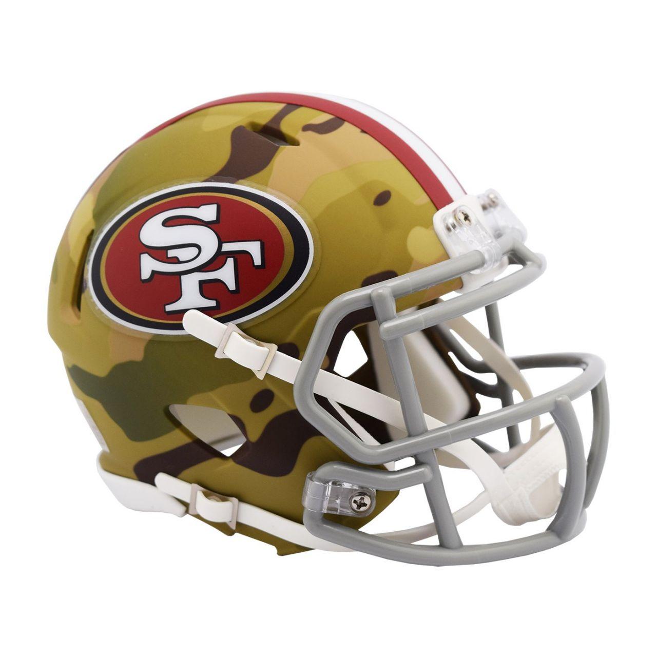 amfoo - Riddell Mini Football Helm MULTICAM San Francisco 49ers