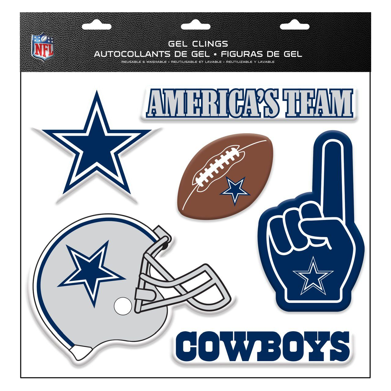 amfoo - NFL Dallas Cowboys Aufkleber Multi-Use 6er Set Fenster-Deko