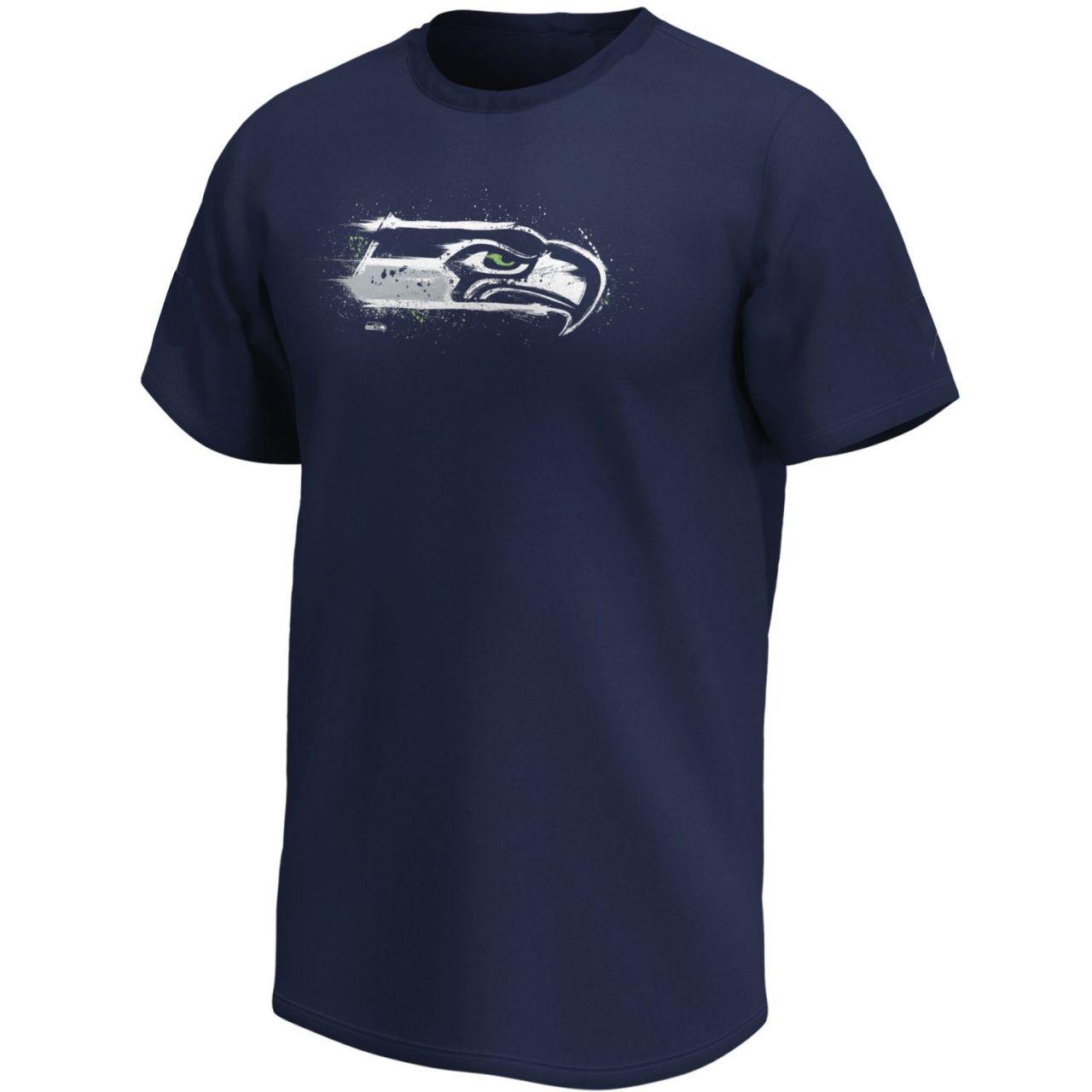 amfoo - Seattle Seahawks NFL Fan T-Shirt Splatter Logo navy