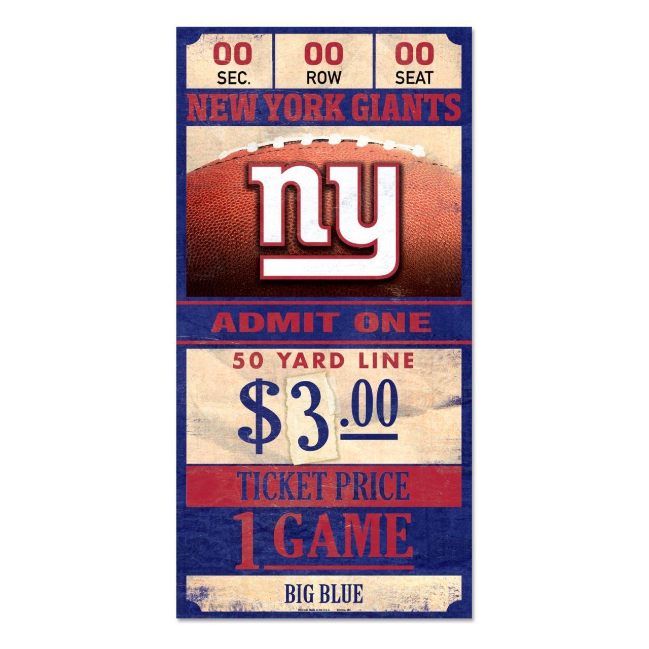 amfoo - Wincraft NFL Holzschild TICKET New York Giants 30x15cm
