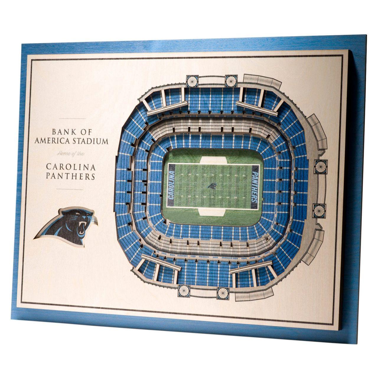 amfoo - YouTheFan Holz Wanddeko Stadion Carolina Panthers 43x33cm