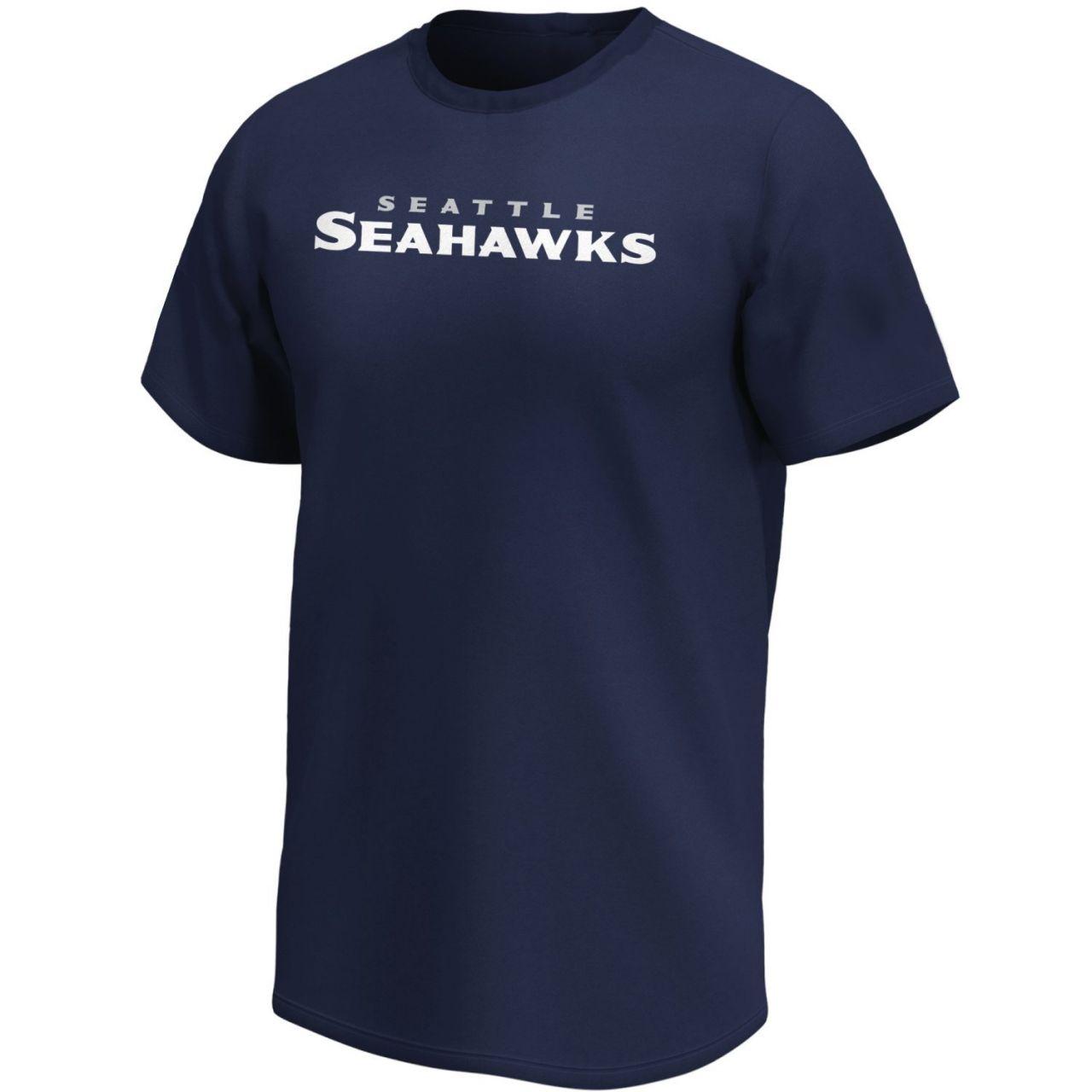 amfoo - Seattle Seahawks NFL Fan Shirt Wordmark Logo navy