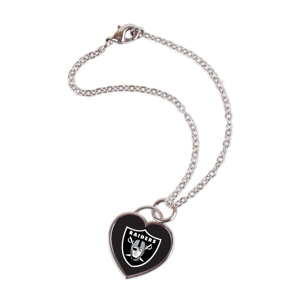 amfoo - Wincraft Damen 3D Herz Armband - NFL Oakland Raiders
