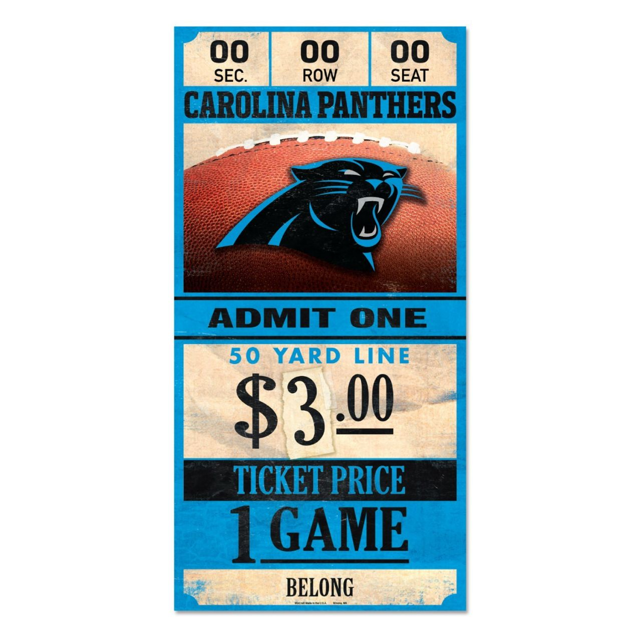 amfoo - Wincraft NFL Holzschild TICKET Carolina Panthers 30x15cm