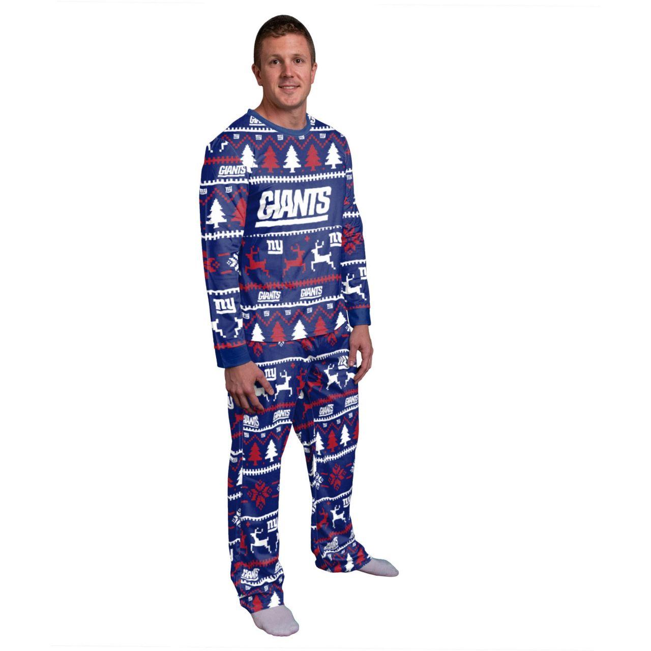 amfoo - NFL Winter XMAS Pyjama Schlafanzug - New York Giants