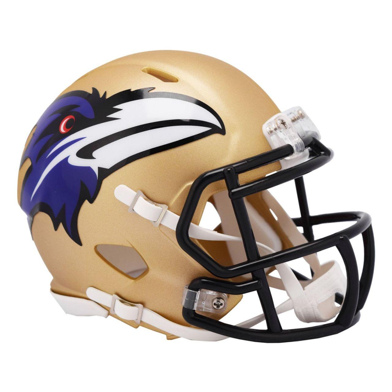 amfoo - Riddell Speed Mini Football Helm - NFL AMP Baltimore Ravens