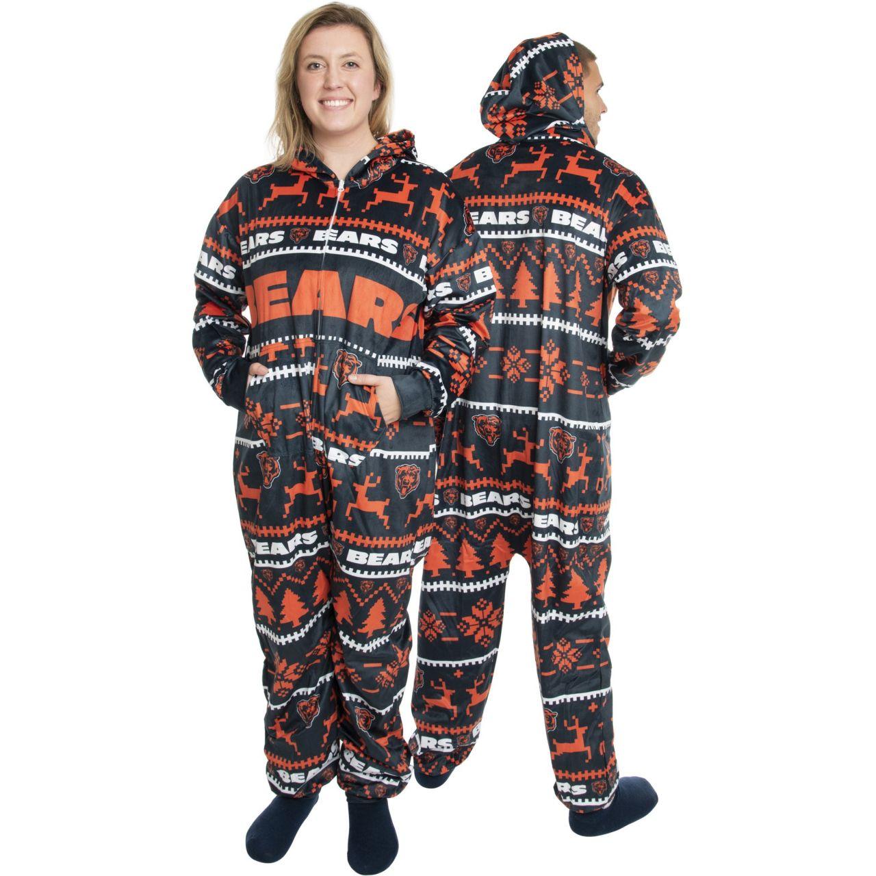 amfoo - Chicago Bears NFL Winter XMAS Hooded One Piece Anzug